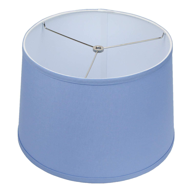 "FenchelShades.com 13"" Top Diameter x 15"" Bottom Diameter x 10"" Height Fabric Drum Lampshade Spider Attachment (Periwinkle)"