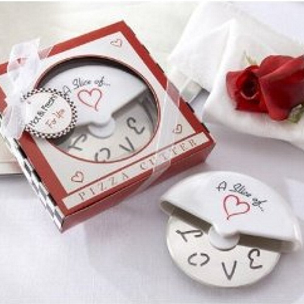 A Slice of Love Stainless-Steel Pizza Cutter in Miniature Pizza Box (pack of 40)