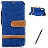 sxs boy - MAGQI SONY Xperia XZS Wallet Flip Case,Cowboy Retro Splice Color Fabrics Denim PU Leather Card holder Magnetic Closure Bookstyle Full Body Protection Cover SONY Xperia XZS Shell-Light Blue