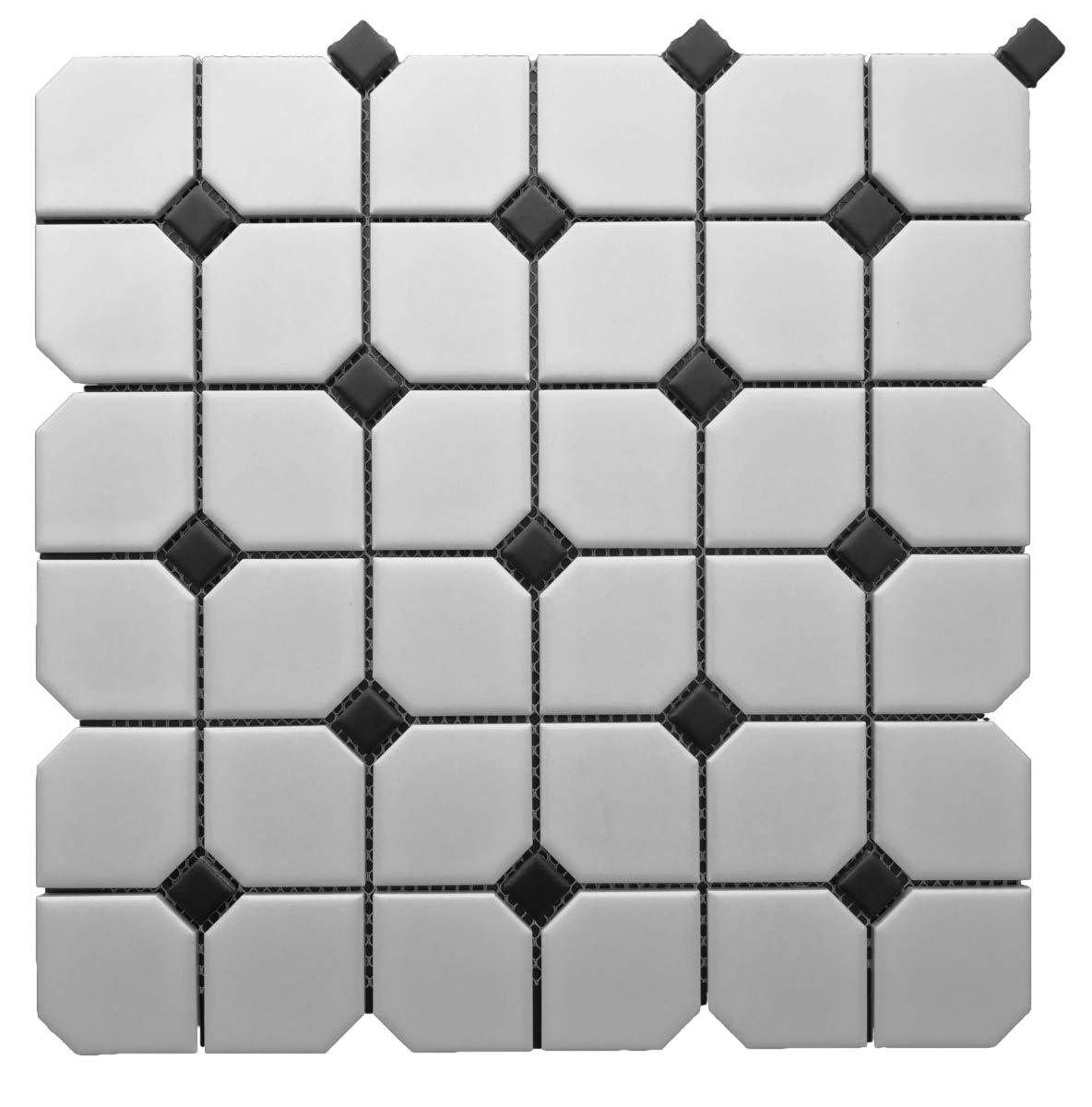 1 Carton/10 SQFT   Black and White 2'' Half Octagon Mosaic Tile (Matte)