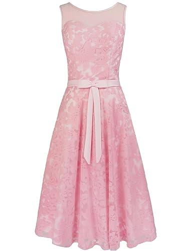 Levory J Women's Elegant Floral Lace Cap Sleeve Bridesmaid Prom Dress