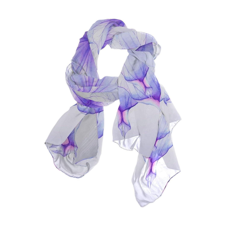 Senya Women's Fashion Large Long Sheer Silk Scarf Shawl Wrap, Transparent Petals
