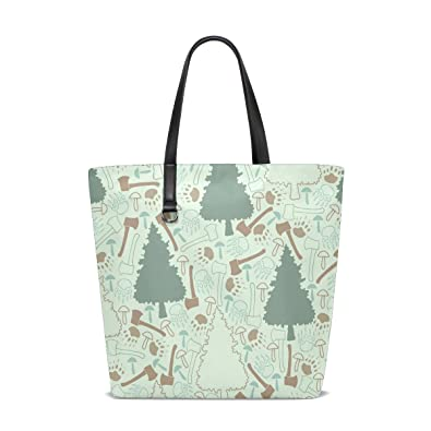 Image Unavailable. Image not available for. Color  Handbags for Women Tree  Ax Mushroom Pattern Tote ... 7833f12ba17dc