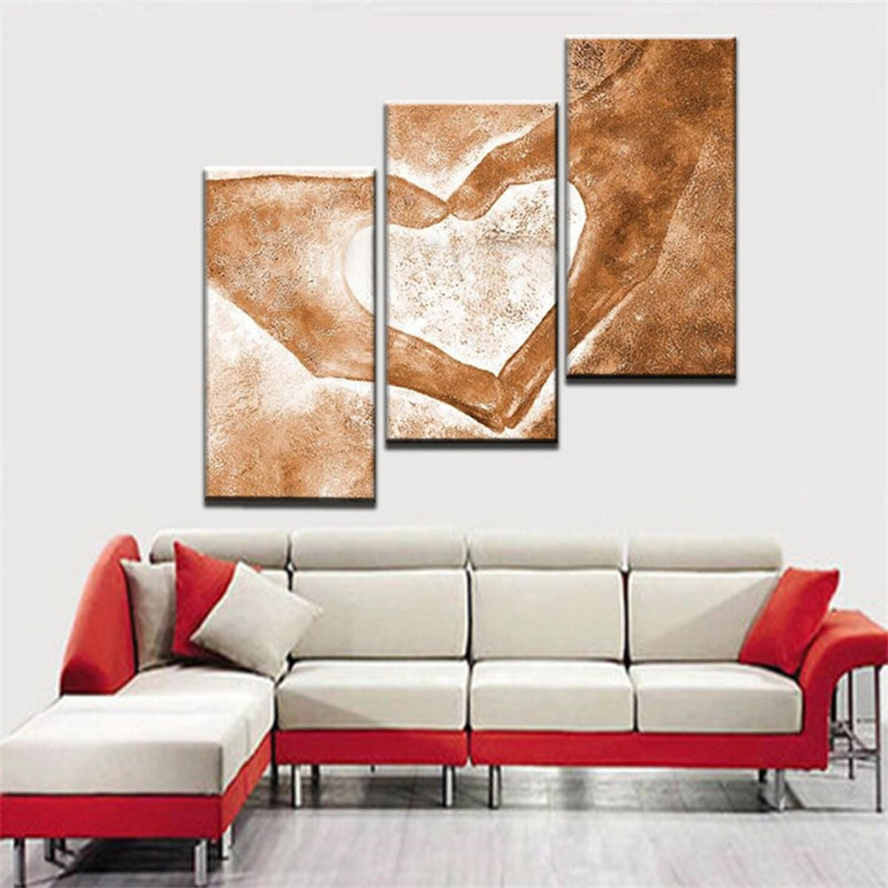 Modern Abstract 3 Piece Oil Painting on Canvas, Handpainted Love Paintings Wall Art for Living Room Home Decor Framed Stretched Ready to Hang, Yellow (28Wx42L inch) by Yatsen Bridge (Image #3)