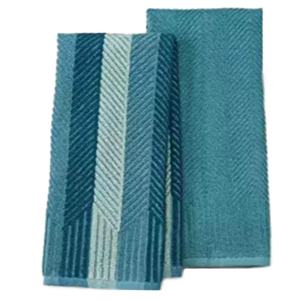 Food Network 2-pk. Sculpted Antimicrobial Kitchen Towels (Aqua)
