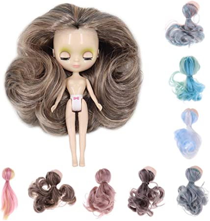 Artibetter 5pcs Doll Wefts 15cm Doll Making Hair Wigs Straight Style Wigs Doll Toy Hair Extensions Supplies for Handicrafts Yellow