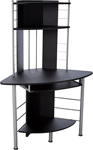 HomCom 45 Arch Tower Compact Modern Corner Computer Workstation Desk With Keyboard Tray And Shelves – Black