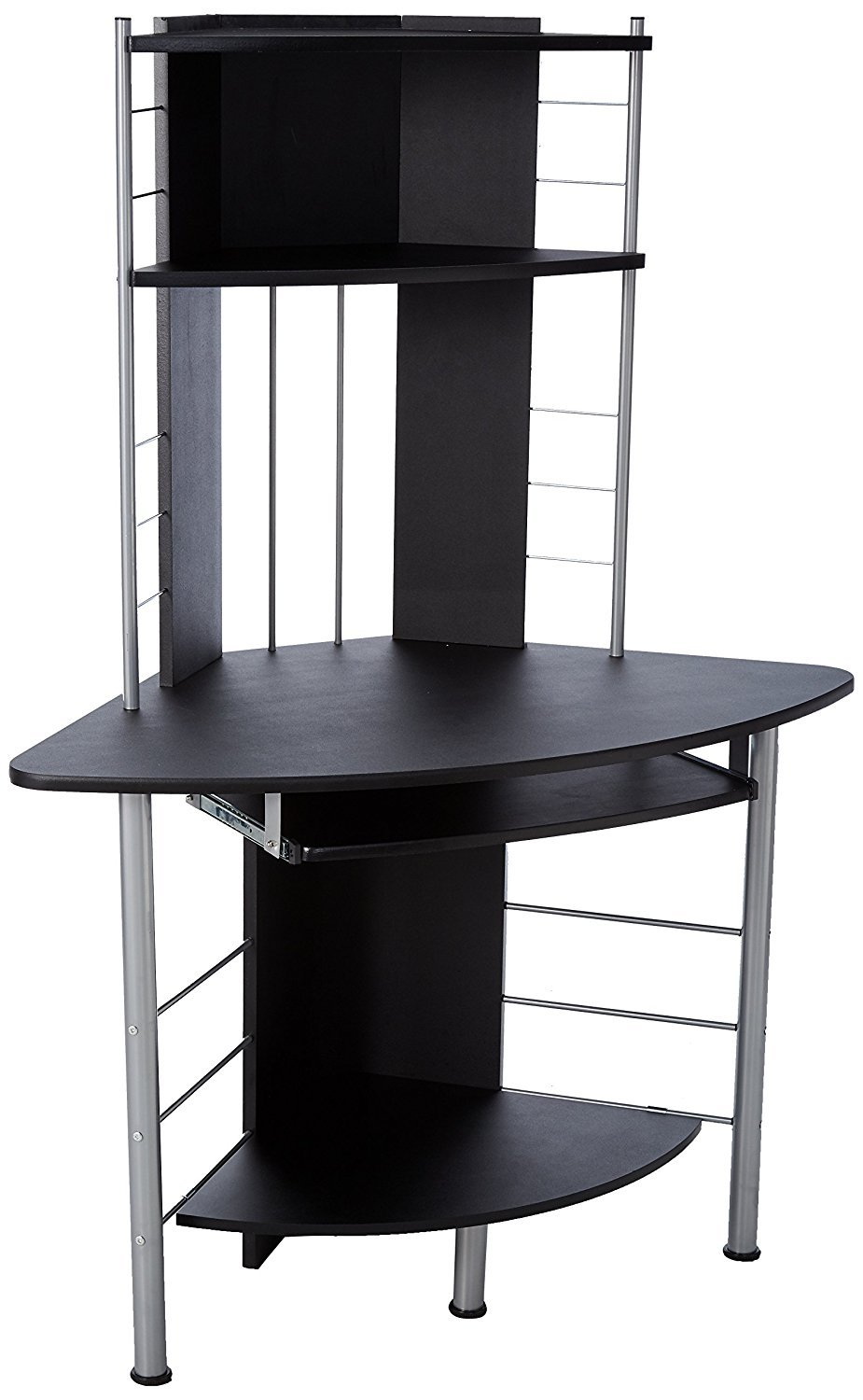 HomCom 45'' Arch Tower Compact Modern Corner Computer Workstation Desk With Keyboard Tray And Shelves - Black by HOMCOM