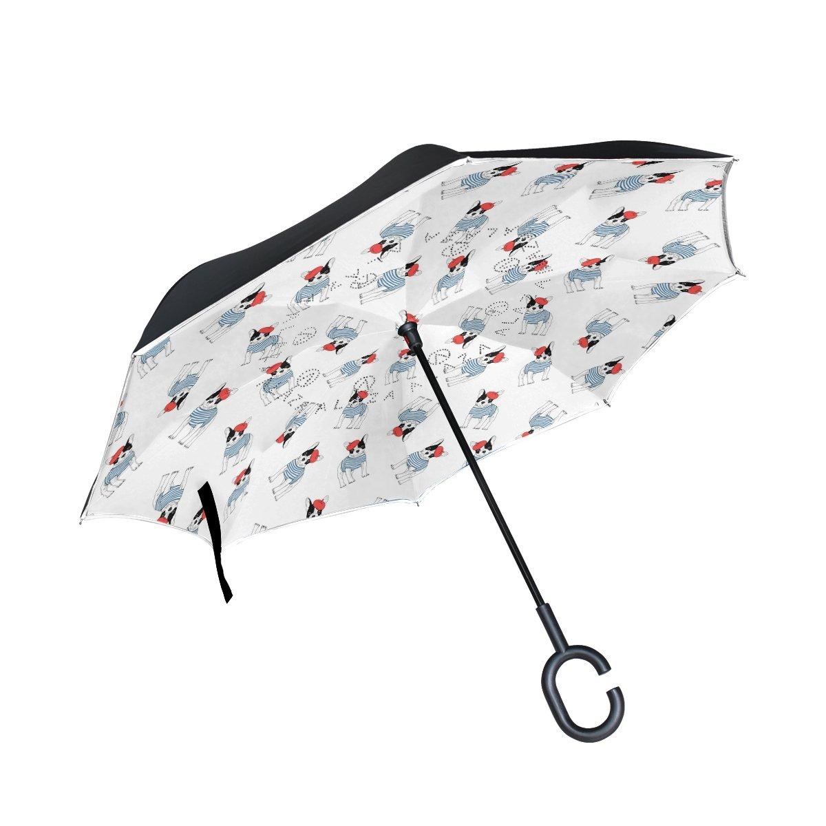 COOSUN Paraguas invertido de Doble Capa con Patrón de Bulldog Francés para Coche y Exterior, Resistente al Viento, Resistente al Agua, Protección UV, ...