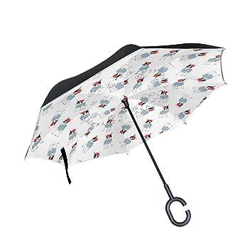 COOSUN Paraguas invertido de Doble Capa con Patrón de Bulldog Francés para Coche y Exterior,