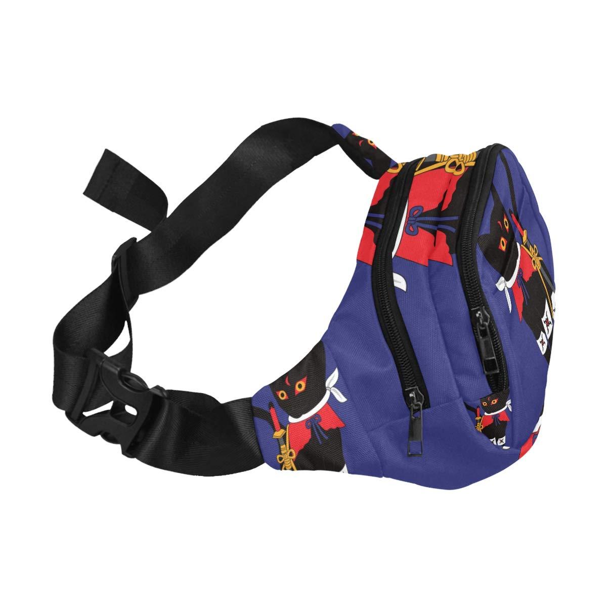 Black Cool Ninja Cat Fenny Packs Waist Bags Adjustable Belt Waterproof Nylon Travel Running Sport Vacation Party For Men Women Boys Girls Kids