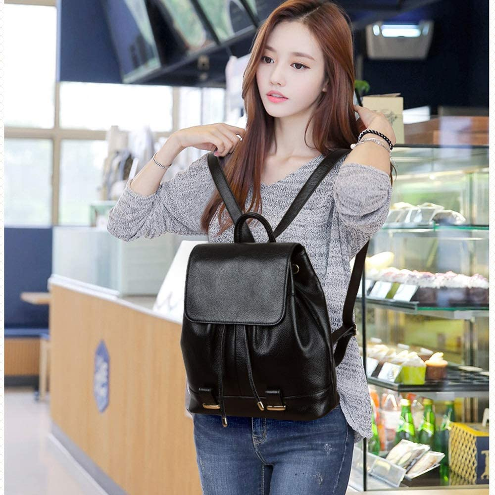 IhDFR Leather Shoulder Bag Female Wild Top Layer Leather Backpack Soft Leather Handbag Fashion Casual Bag First Layer Cowhide Drawstring Design Commute