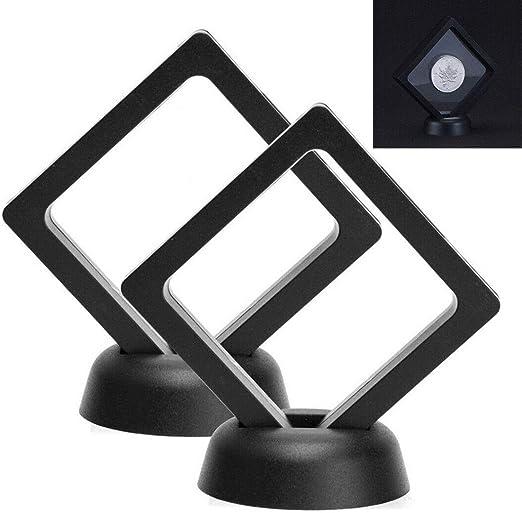 2pcs Set 90*90mm Black 3D Floating Coin Display Frame Holder Box Case w// Stand