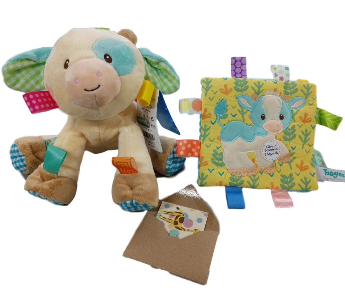 Casey Cow Taggies Soothing Sensory Farm Toy Bundle Cow Toy and Crinkle with Gift Card-3 Items