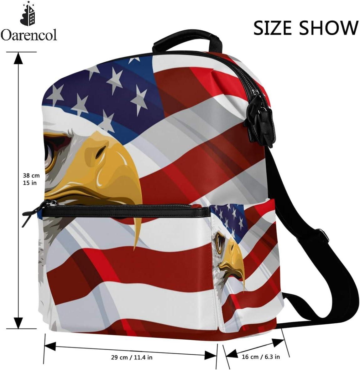 Oarencol Vintage Bald Vulture American Flag Backpack USA Patriotic School Book Bag Travel Hiking Camping Laptop Daypack