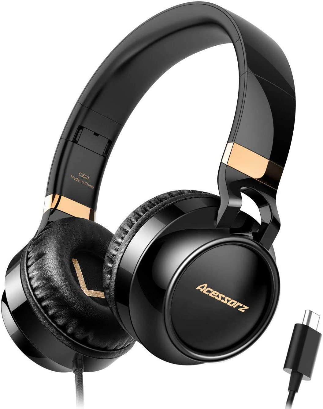 USB C Headphones Over Ear, Acessorz Type-c Wired Over-Ear Noise Cancelling HiFi Stereo Headphones Earphones w Mic for iPad Pro 2018, New MacBook, Dell Xps, Google and Samsung Type-c Devices – Black