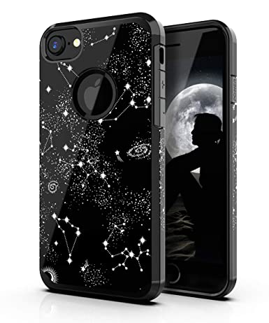 PBRO iPhone 6/6s Case,iPhone 7/8 Case,Cute Universe Constellat Case Dual Layer Soft Silicone & Hard Back Cover Heavy Duty PC+TPU Protective ...