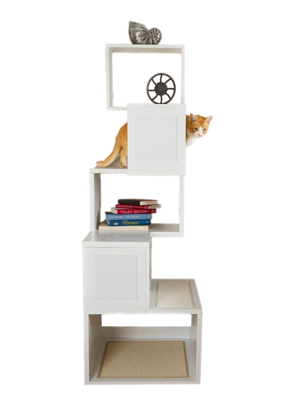 White Designer Pet Products Sebastian Modern Cat Tree in White