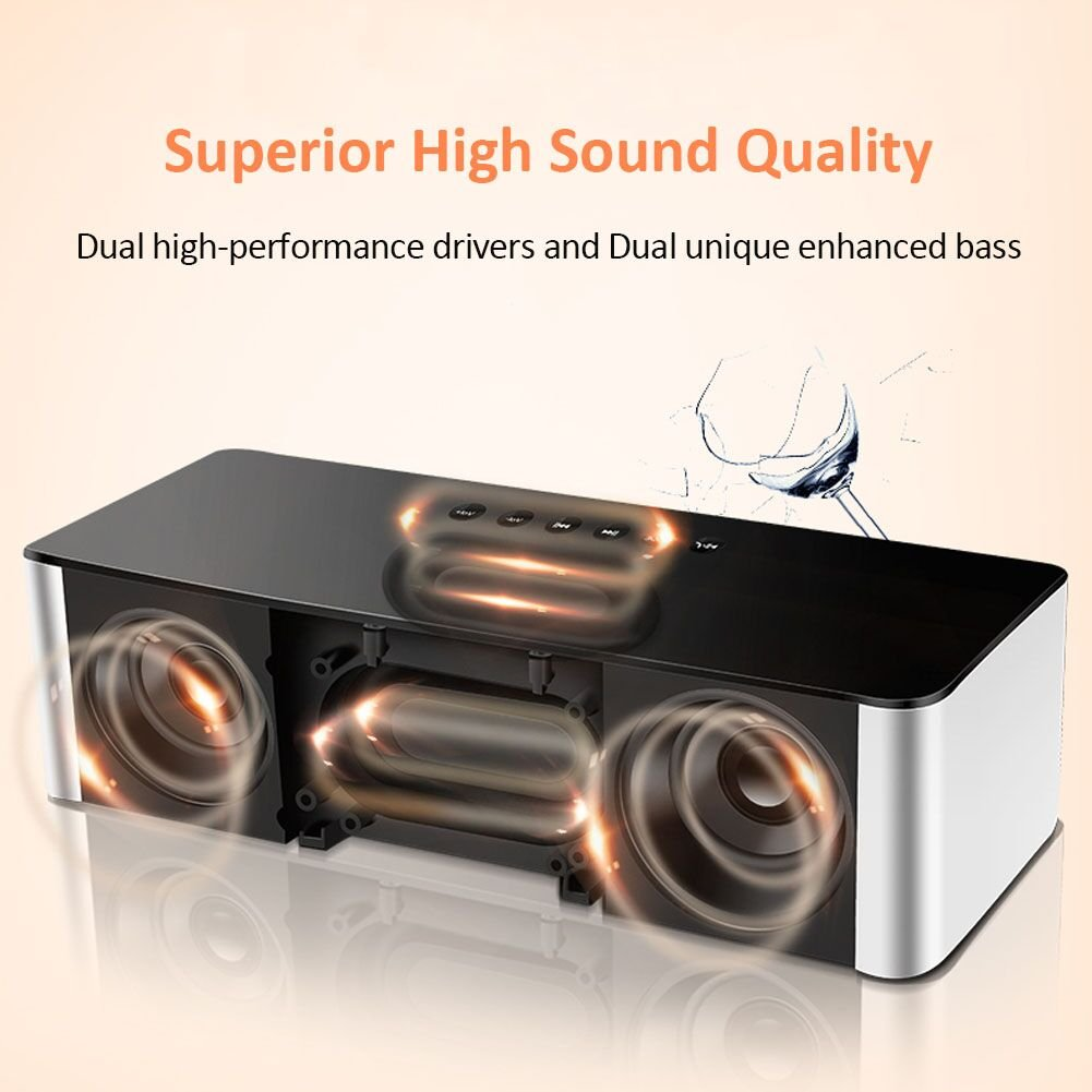 Wireless Bluetooth Speakers,XPLUS All-in-1 Portable HIFI V4.0 Wireless Bluetooth Speakers with Alarm Clock, Hands-Free Speakerphone with Mic, Support TF Card for Smartphones and All Audio Enabled Devices