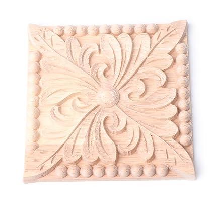 Yeahii Flower Wood Carved Corner Onlay Applique Furniture Unpainted Cabinet  Decoration