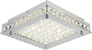 Horisun Dimmable LED Ceiling Lights, 10inch Glass Shade Crystal Flush Mount Ceiling Light, 100W Incandescent Bulbs Equivalent, ETL Listed, 1320LM 4000K Daylight White for Bedroom, Bathroom, Kitchen