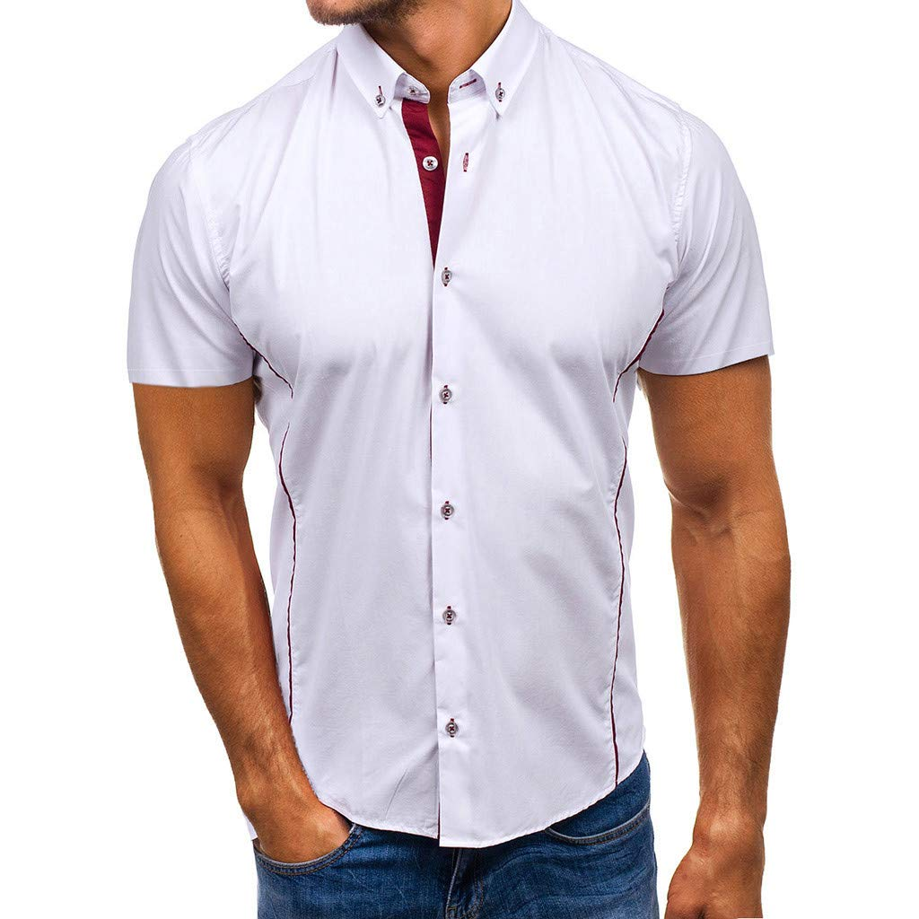 Tiitstoy Men's Casual Solid Colour Tops Blouse Button Down Short Sleeve Poplin Work Shirts (White,XX-Large) by Tiitstoy T-Shirts