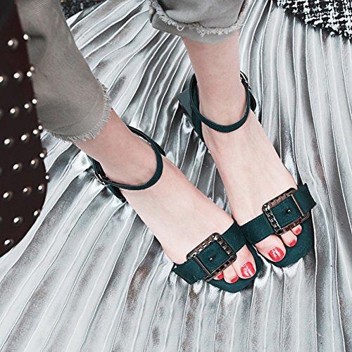 Easemax Womens Fashion Faux Mocka Vrist Spänne Rem Hängande Öppen Tå Mitten Chunky Klack Sandaler Grönt