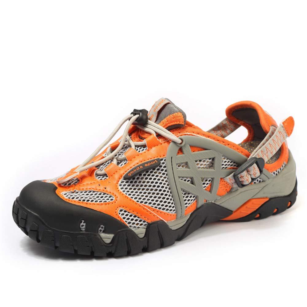 Willsky Herren Wanderschuhe, leichte Wanderschuhe Wasserschuhe Schnelltrocknend Atmungsaktiv Rutschfest Unisex für Trekking Reisen Klettern,Orange,37