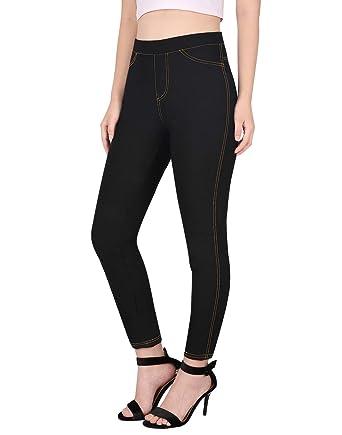 9841301a06af4 HDE Jeggings for Women Denim Jean Look Leggings Cotton Blend Pull On ...