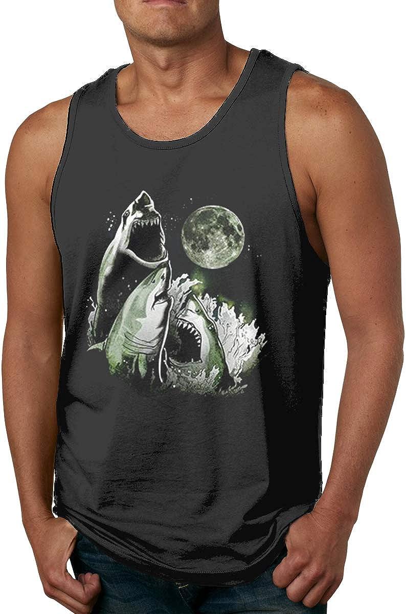 3 Shark Moon Mens Boy Round Neck Vest Premium Sleeveless Tank Top T-Shirt