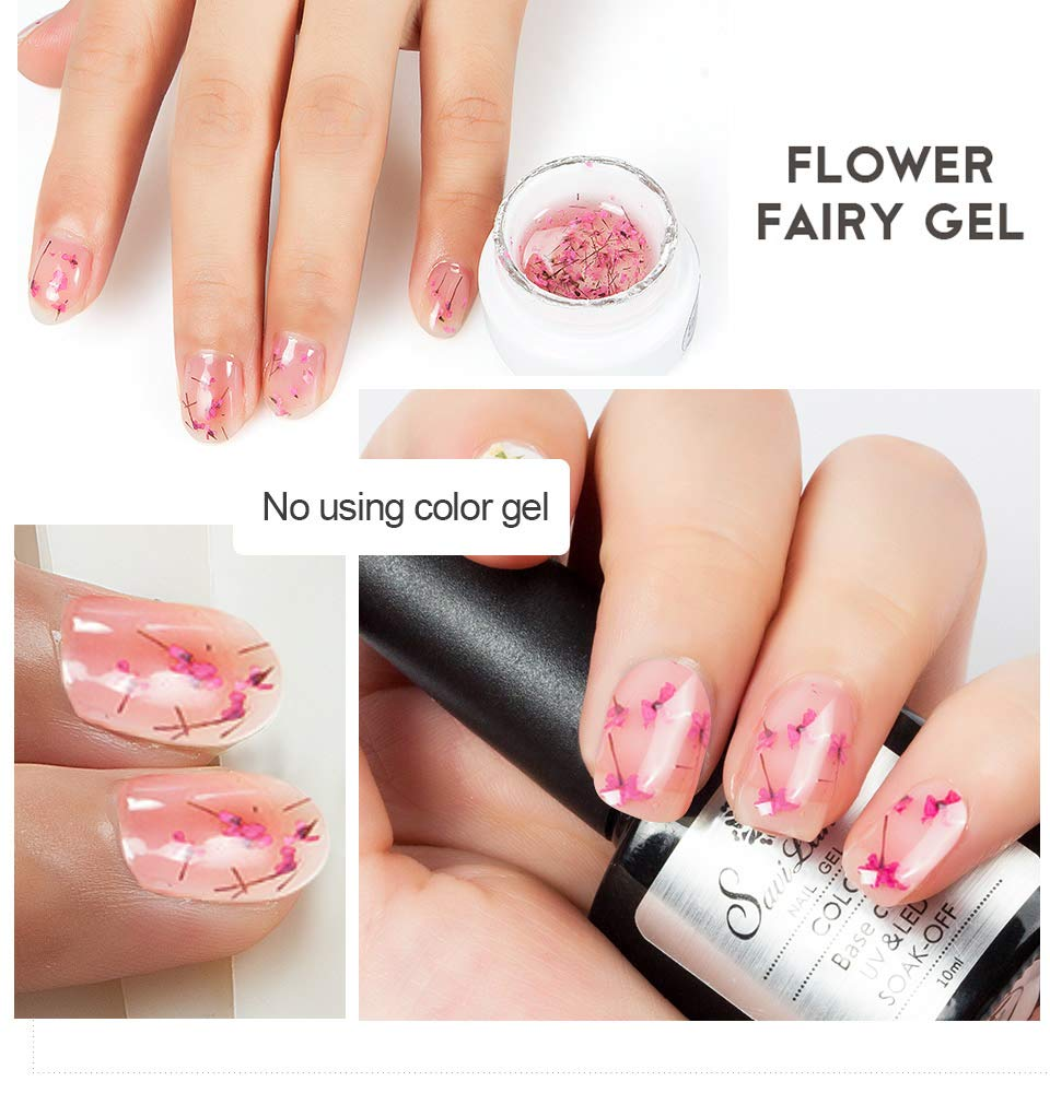 Esmalte de uñas de gel de flores secas, Saviland 12 colores Soak Off UV LED Decoración Esmalte de uñas Manicura Nail Art Kit (rosa azul y amarillo): ...