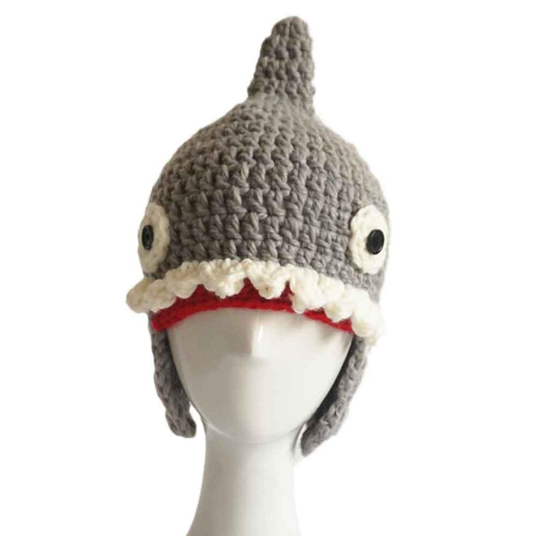 Gray Gotd Baby Wool Knitted Shark Hats Baby Girls Hooded Caps Warmer