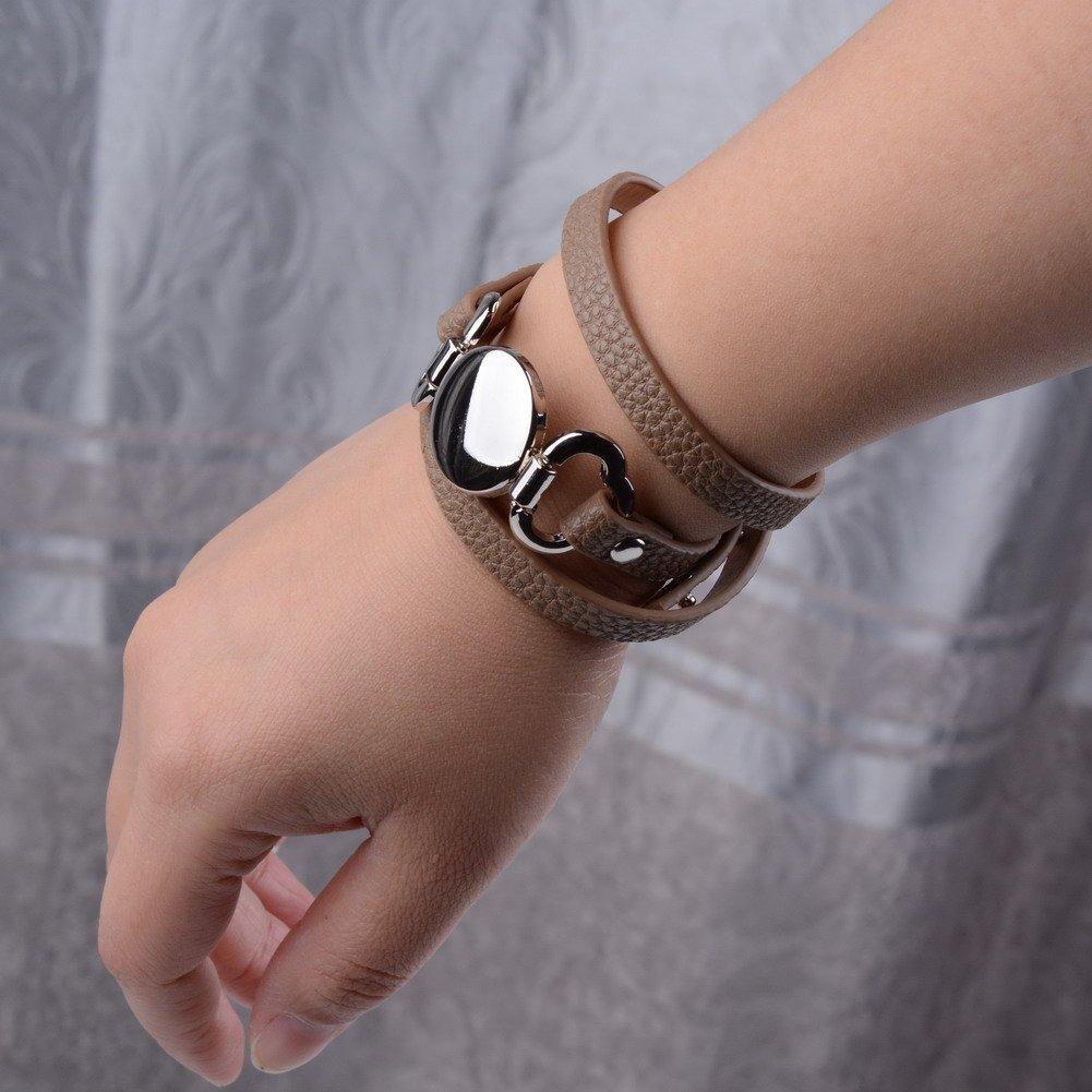 L&N Rainbery PU Leather Wrap Bracelet Monogram Leather Cuff Bracelet Blank Disc 3 Layer Wrap Leather Bracelet GLB1054