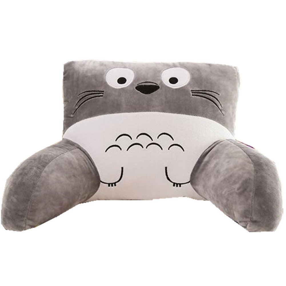 YaKISTAO Bed Rest Support Lumbar Pillow, Bed Pillow Reading Pillow Cute Cartoon Animal Soft Backrest Pillow with Arms Perfect for Kids