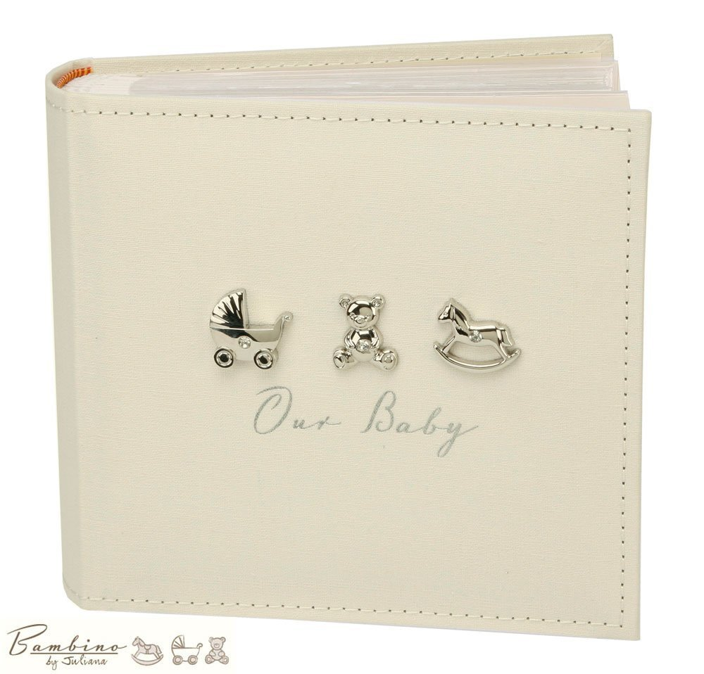 Bambino Baby Christening Gifts. Linen Fabric Our Baby Photo Album - Holds 100 x 6x4 Pictures Widdop bingham cg919