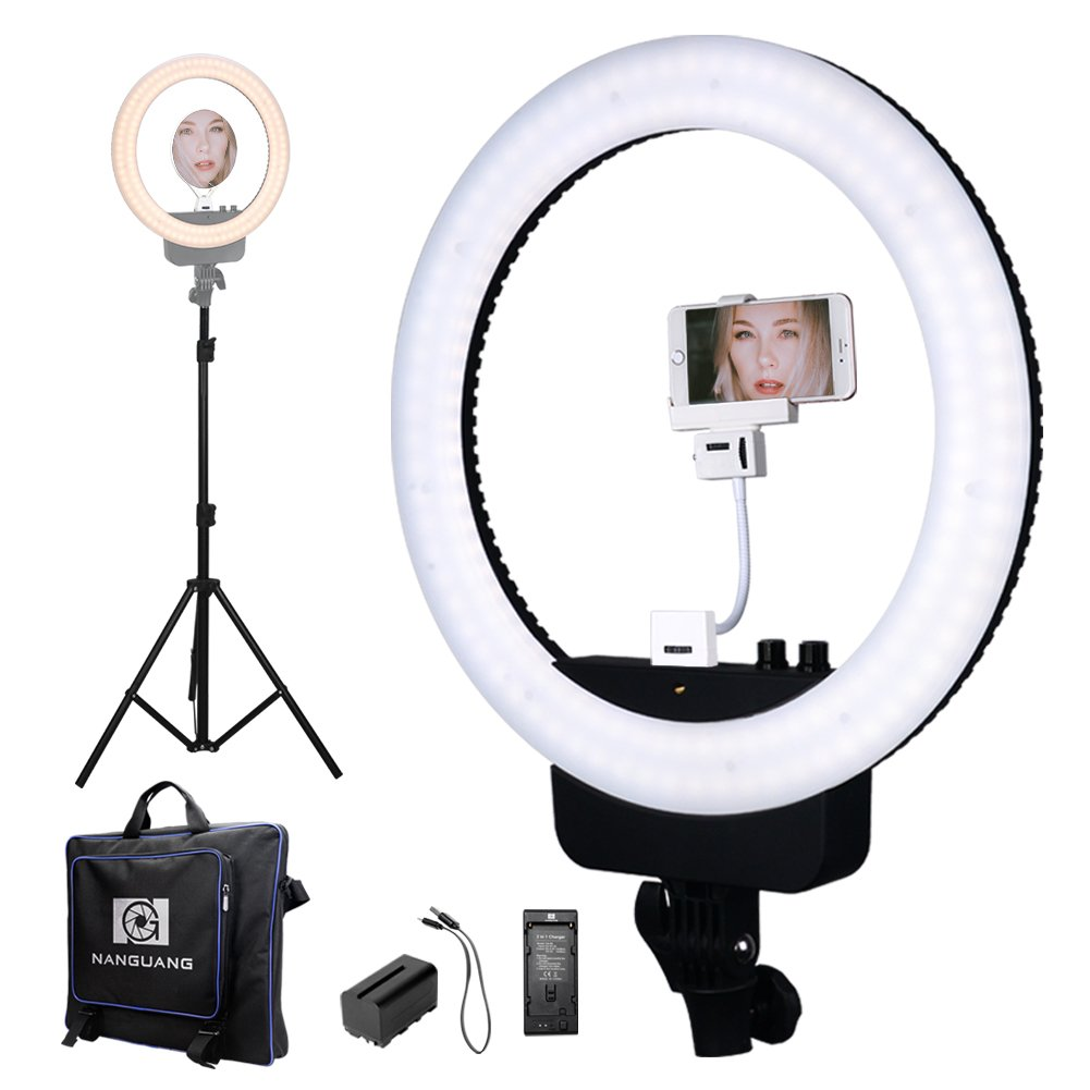 "Nanguang LED Ring Light 16"" Bi-color Dimmable Ring Light with Stand,Cellphone Holder,Mirror,Battery and Charger for Outdoor Shooting, Live Streaming,Make Up,Youtube Video"