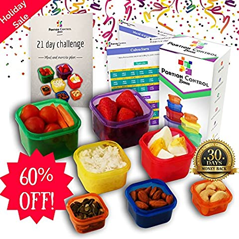 HOLIDAY SALE - 60% OFF! - 7 Piece Portion Control Containers Kit for Weight Loss. COMPLETE GUIDE + 21 Day Meal TRACKER + FULL Meal Plan E-BOOK Included. Comparable to Beachbody 21-Day Fix