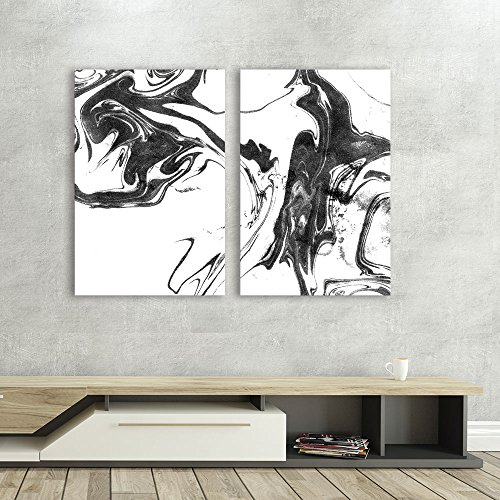 2 Panel Abstract Ink Splash on White Background x 2 Panels