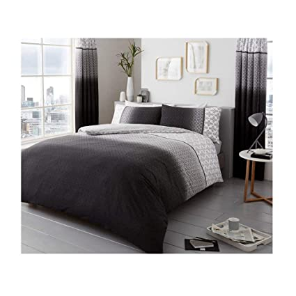 8b561afa602 Duvet Cover Set Double Size Bed with Pillowcases Quilt Bedding Set Printed  Reversible Poly Cotton, Urban Ombre Grey: Amazon.co.uk: Kitchen & Home