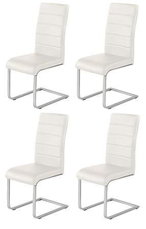 4 X Design Stuhl Freischwinger Piet 32 Kunstleder Weiss