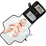 Portable Diaper Changing Pad - Waterproof with Built-in Head Cushion - Baby Diaper Change Mat for Travel and Home – BONUS Pacifier Holder Clip