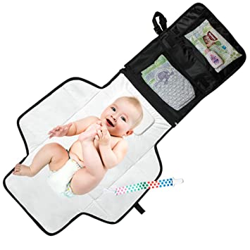 Large Size Waterproof Foldable Mat with Built-in Head Pillow for Newborn Baby Lightweight Travel Organizer Mesh Storage Pockets Portable Diaper Changing Pad by Light Travelr Arrow Pattern Clutch