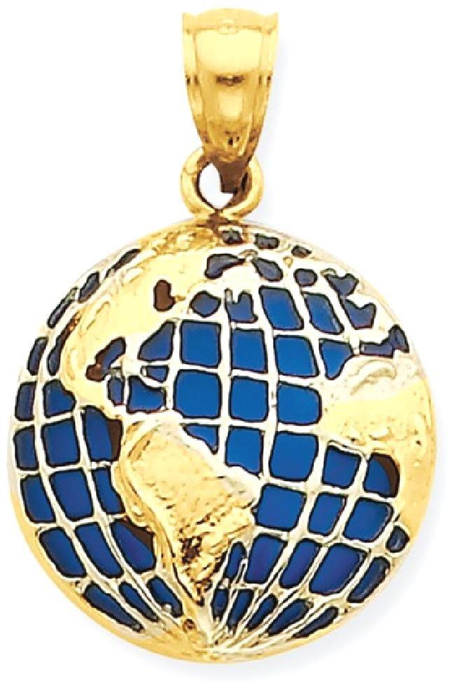 ICE CARATS 14k Yellow Gold Bluetranslucent Acrylic Globe Pendant Charm Necklace Travel Transportation Fine Jewelry Gift Set For Women Heart