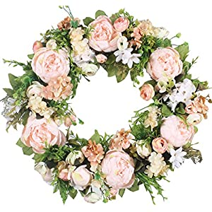 Duovlo Artificial Peony Flower Wreath Silk Wreath 20-Inch Beautiful Handcrafted Mix Flowers Front Porch Decoration 6