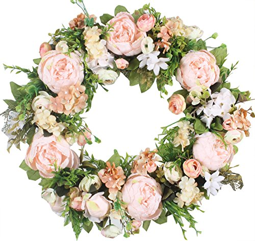 Beautiful Holiday Wreath - Duovlo Artificial Peony Flower Wreath Silk Wreath 20-Inch Beautiful Handcrafted Mix Flowers Front Porch Decoration