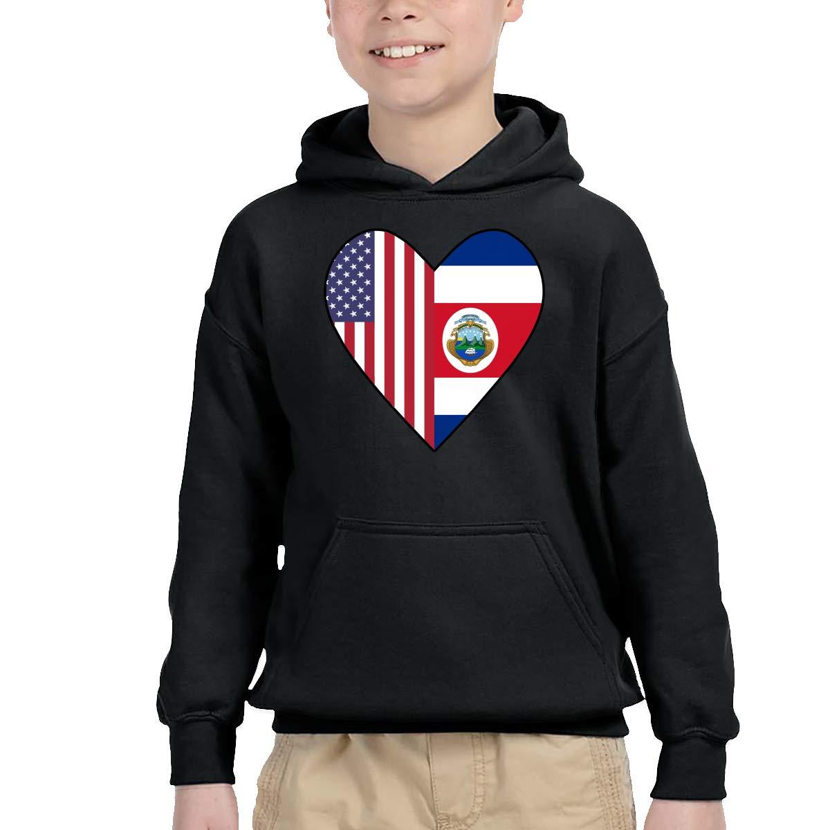 Unisex Kids Children Pullover Hoodie Fleece Half Costa Rica Flag Half USA Flag Love Heart Coat