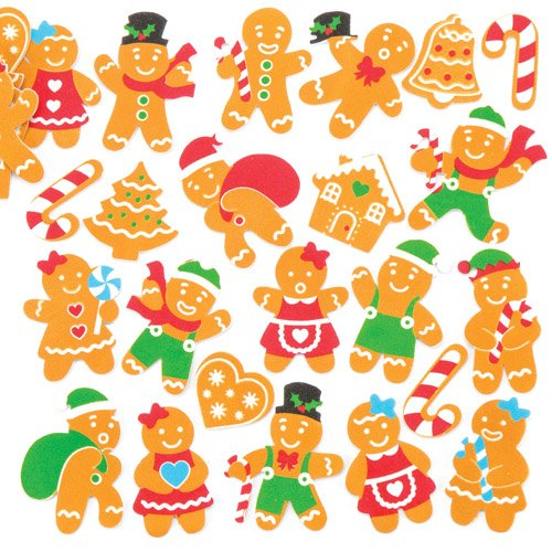 Gingerbread Foam Stickers Small Children's Toys and Games for a Perfect Christmas Time (Pack of 120) ()