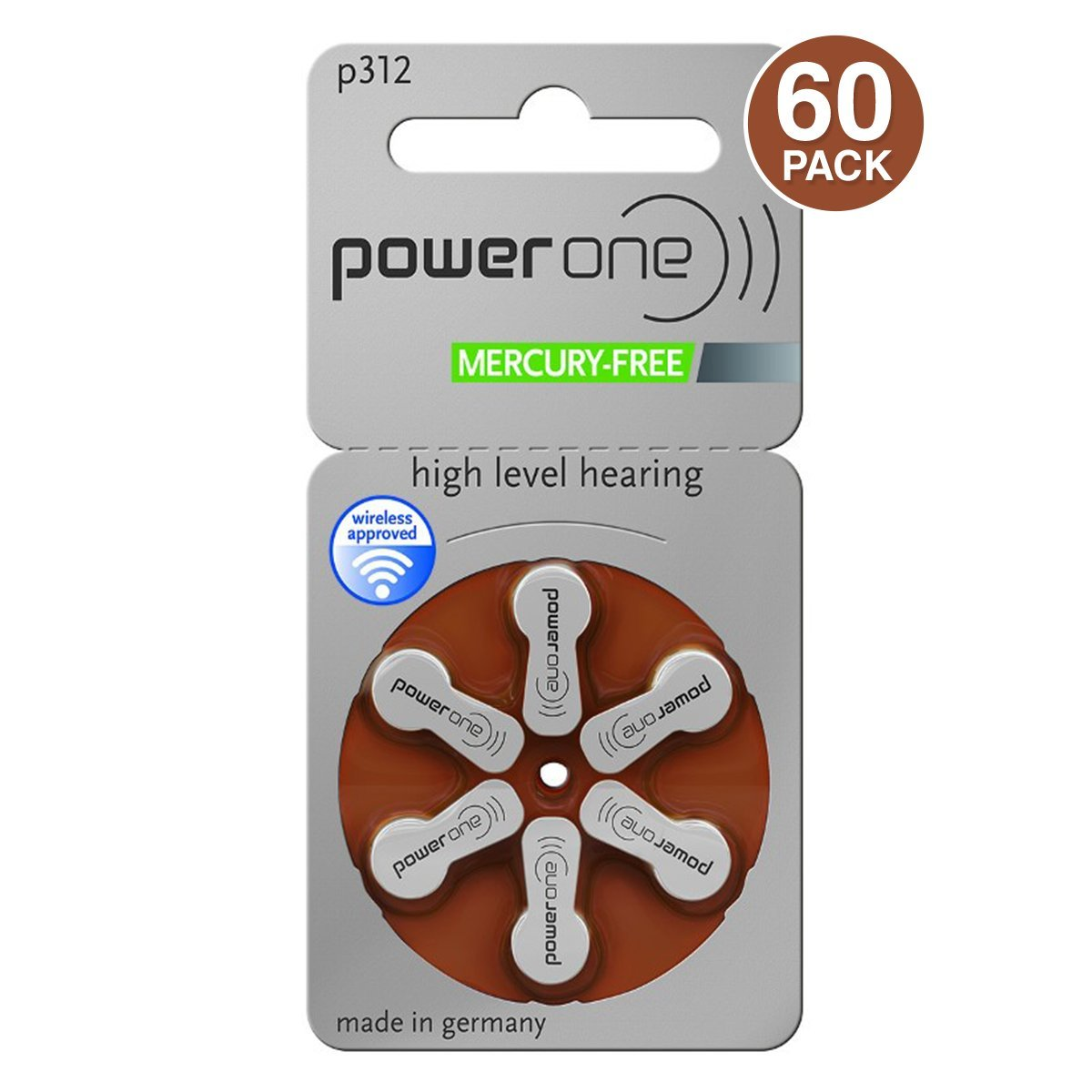 Power One p312 oJxOAM Hearing Aid Battery, 60 Count (4 Units) by PowerOne