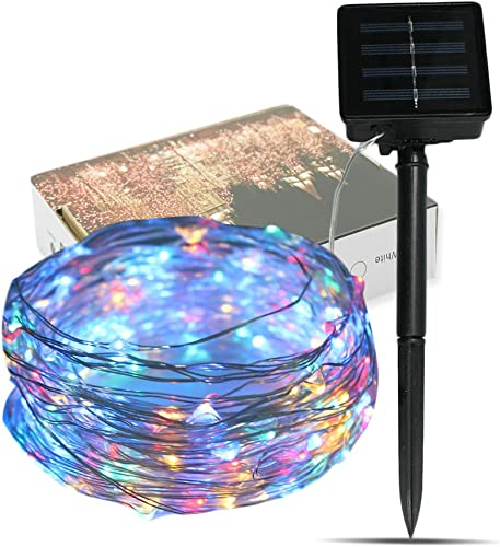 LED Solar String Lights, TechCode 10M 33ft Waterproof Starry Fairy Light Solar Powered Decorative Lights Indoor Lamps for Outdoor Patio Garden Holiday Party Wedding or More RGB