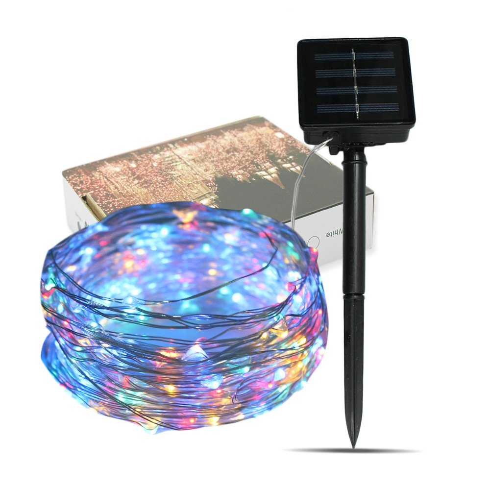 Solar String Lights, Vacio LED Waterproof Solar light 10M 33ft 100LEDs Outdoor Fairy Light For Garden Holiday Decoration Party Wedding-Mix Color